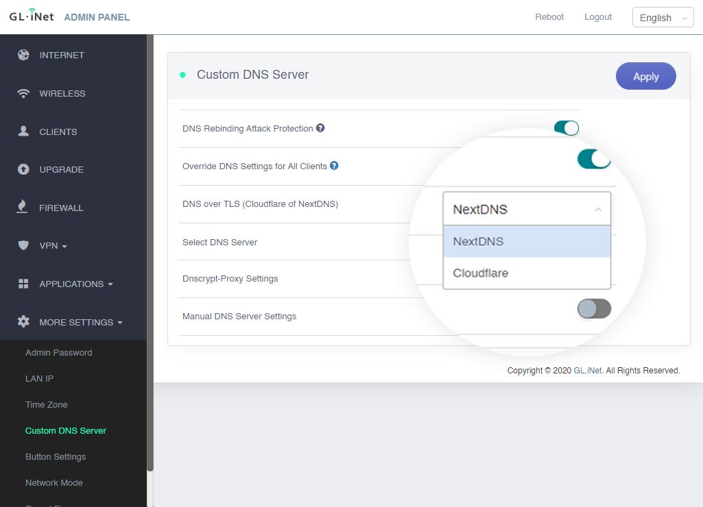 Custom DNS on admin panel